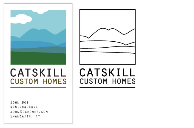Catskill Custom Homes Business Card and Embroidery Graphic